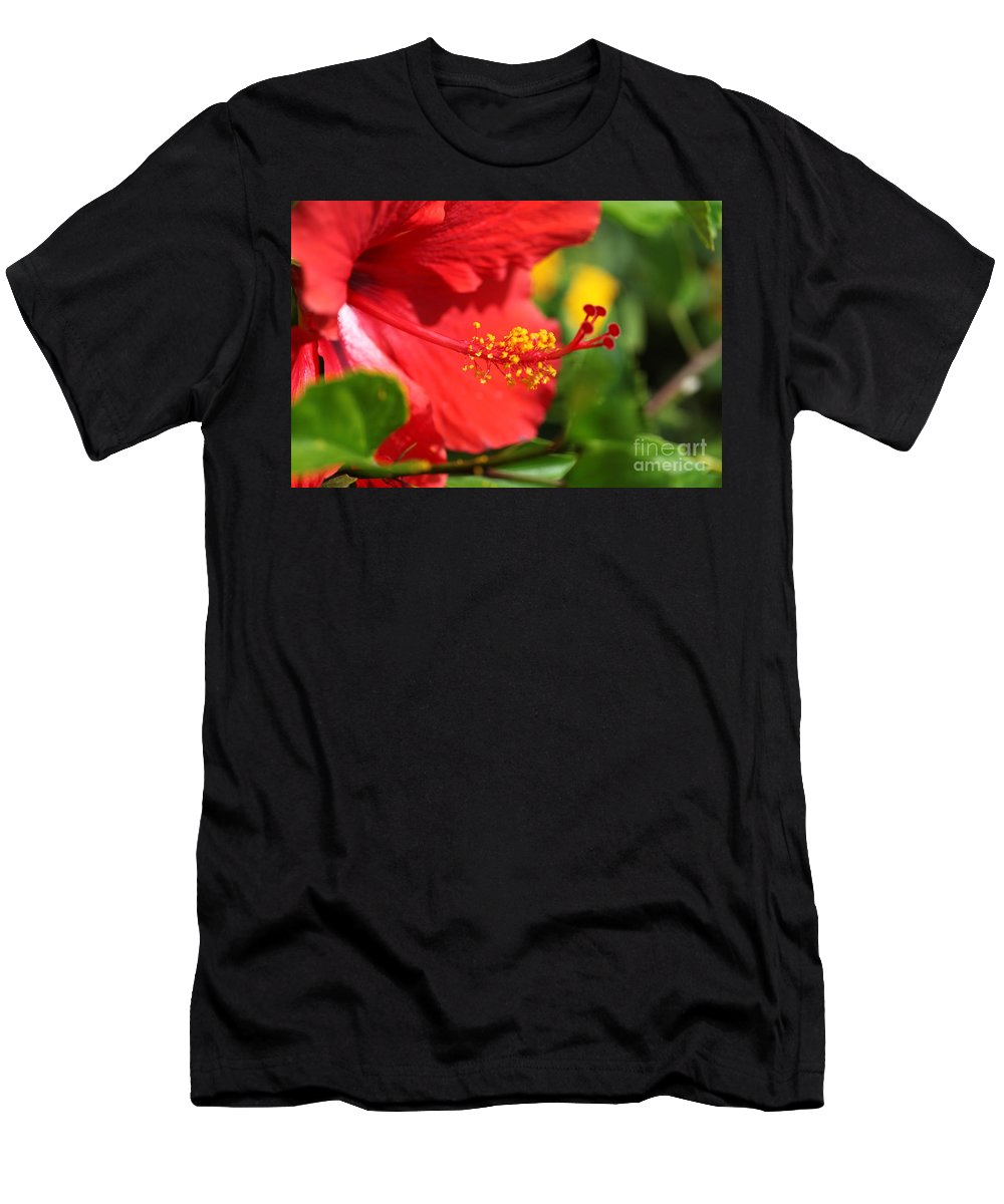 Flowers Men's T-Shirt (Athletic Fit) featuring the photograph Red Hibiscus And Green by Nadine Rippelmeyer