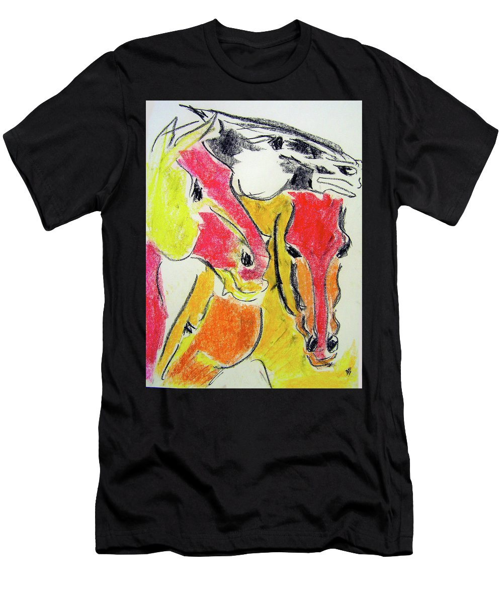 Horse Men's T-Shirt (Athletic Fit) featuring the drawing Red Horses by Donna Bernstein