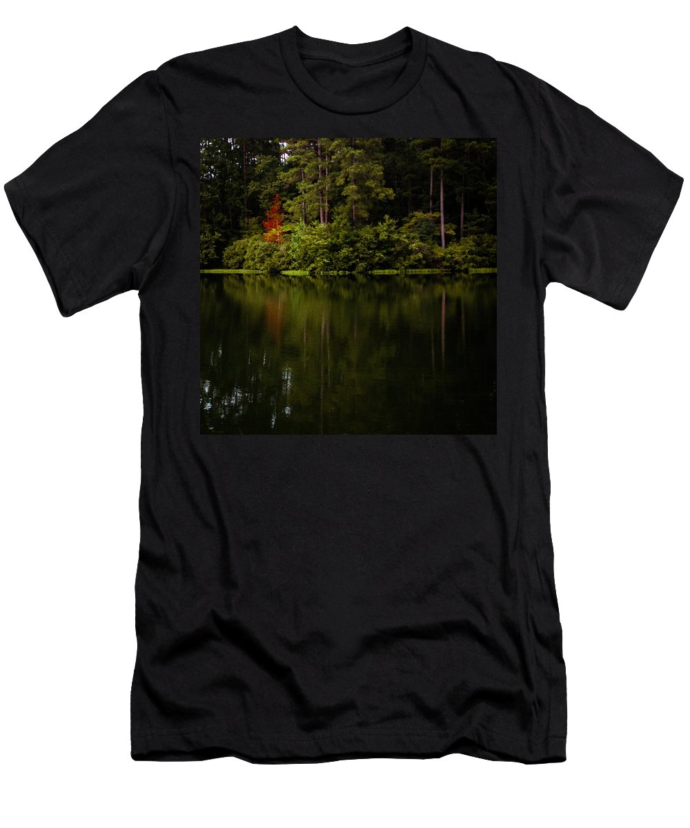 Oak Mountain Men's T-Shirt (Athletic Fit) featuring the photograph Red In Square by Parker Cunningham