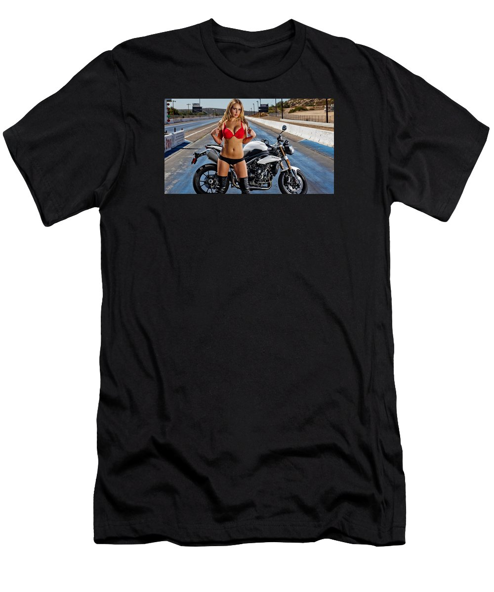 Bike Men's T-Shirt (Athletic Fit) featuring the photograph Red Is Not Always For Ducati by Lawrence Christopher