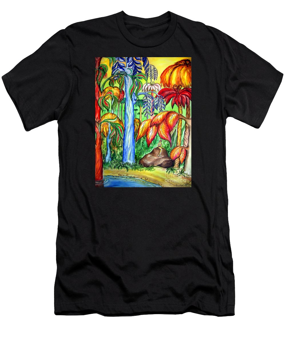 Red Jungle Men's T-Shirt (Athletic Fit) featuring the painting Red Jungle. Alien Planet by Sofia Metal Queen