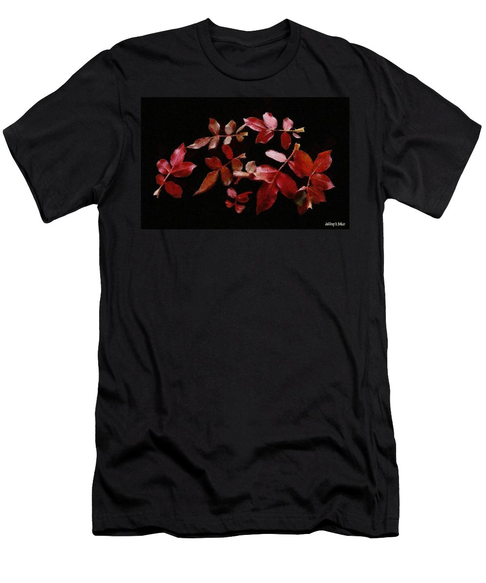 Autumn Men's T-Shirt (Athletic Fit) featuring the painting Red Leaves by Jeffrey Kolker
