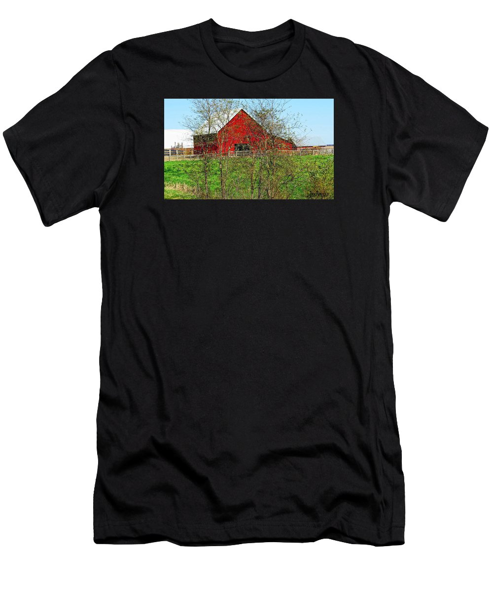 Photography; Photograph; Photo; Picture; Barn; Red; Country; Rural; Landscape; Old; Art Men's T-Shirt (Athletic Fit) featuring the photograph Red by Lu Brown