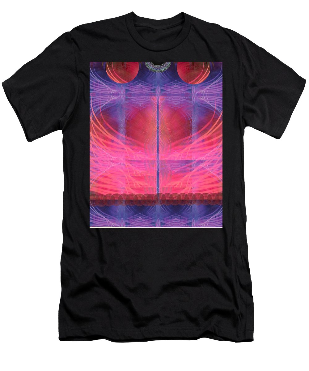 Astral Men's T-Shirt (Athletic Fit) featuring the digital art Red Moon by Sandrine Kespi