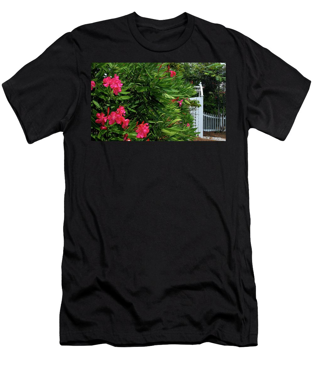 Red Men's T-Shirt (Athletic Fit) featuring the photograph Red Oleander Arbor by Marie Hicks