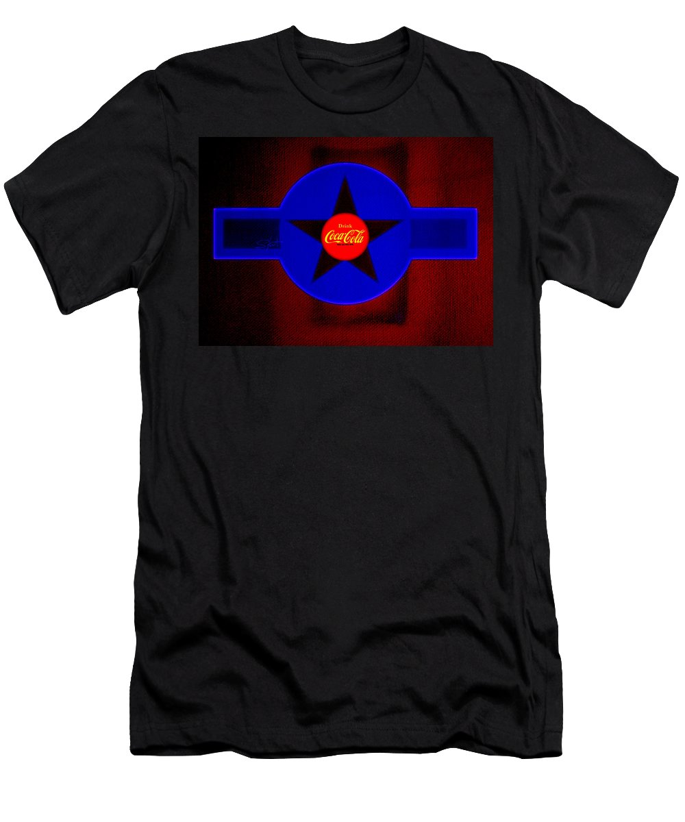 Label T-Shirt featuring the painting Red on Red with Blue by Charles Stuart