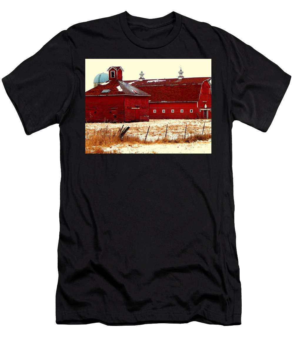 Farm Men's T-Shirt (Athletic Fit) featuring the photograph Red One And Two by Curtis Tilleraas