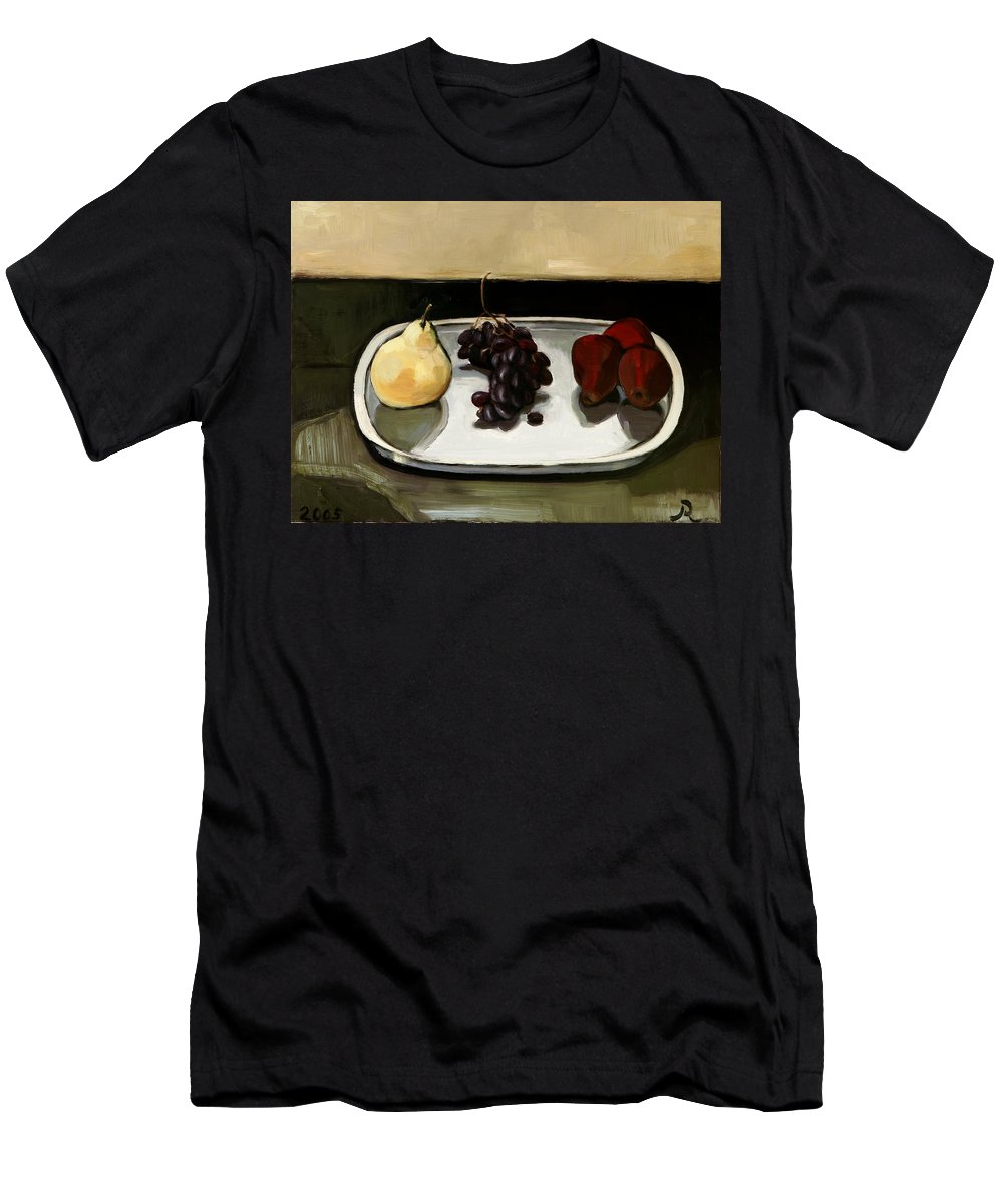 Still-life Grapes Pears Men's T-Shirt (Athletic Fit) featuring the painting Red Pears by Raimonda Jatkeviciute-Kasparaviciene
