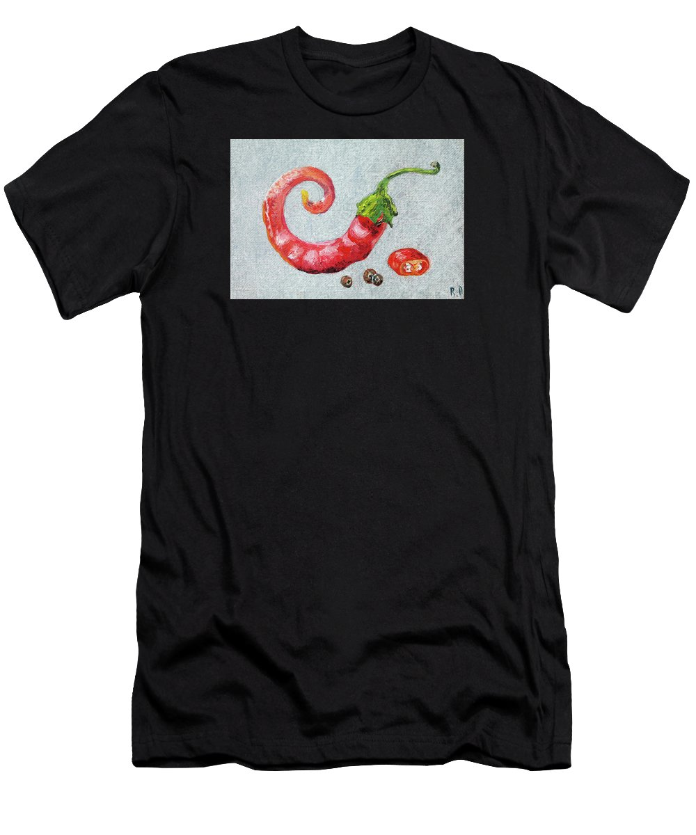 Still Life Men's T-Shirt (Athletic Fit) featuring the painting Red Pepper by Rosa Vard