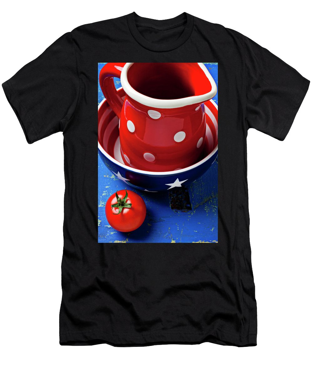 Pitcher Bowl Men's T-Shirt (Athletic Fit) featuring the photograph Red Pitcher And Tomato by Garry Gay
