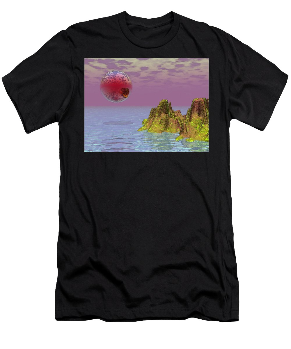 Fantasy Men's T-Shirt (Athletic Fit) featuring the painting Red Planet Fantasy by Susanna Katherine