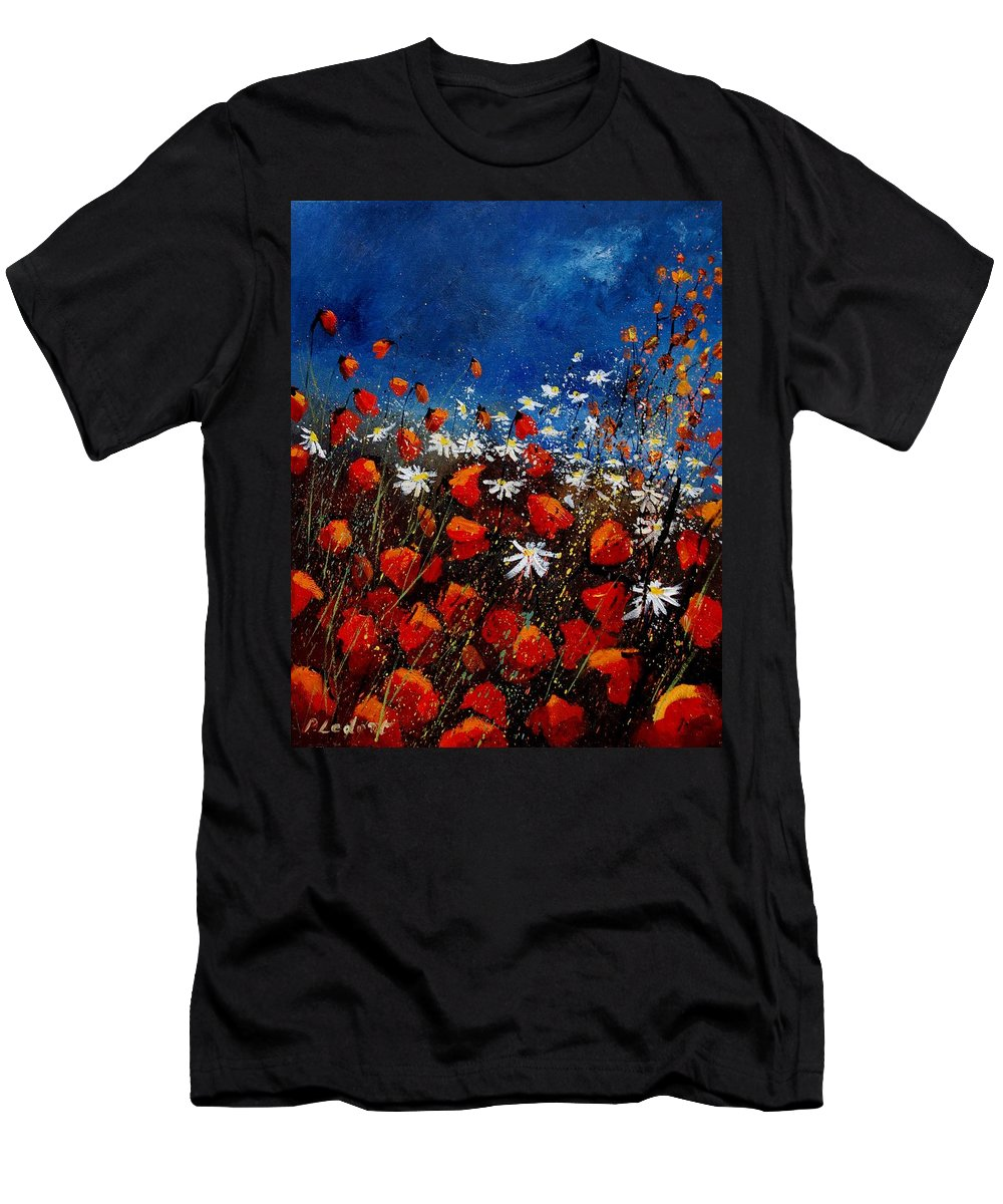 Flowers Men's T-Shirt (Athletic Fit) featuring the painting Red Poppies 451108 by Pol Ledent