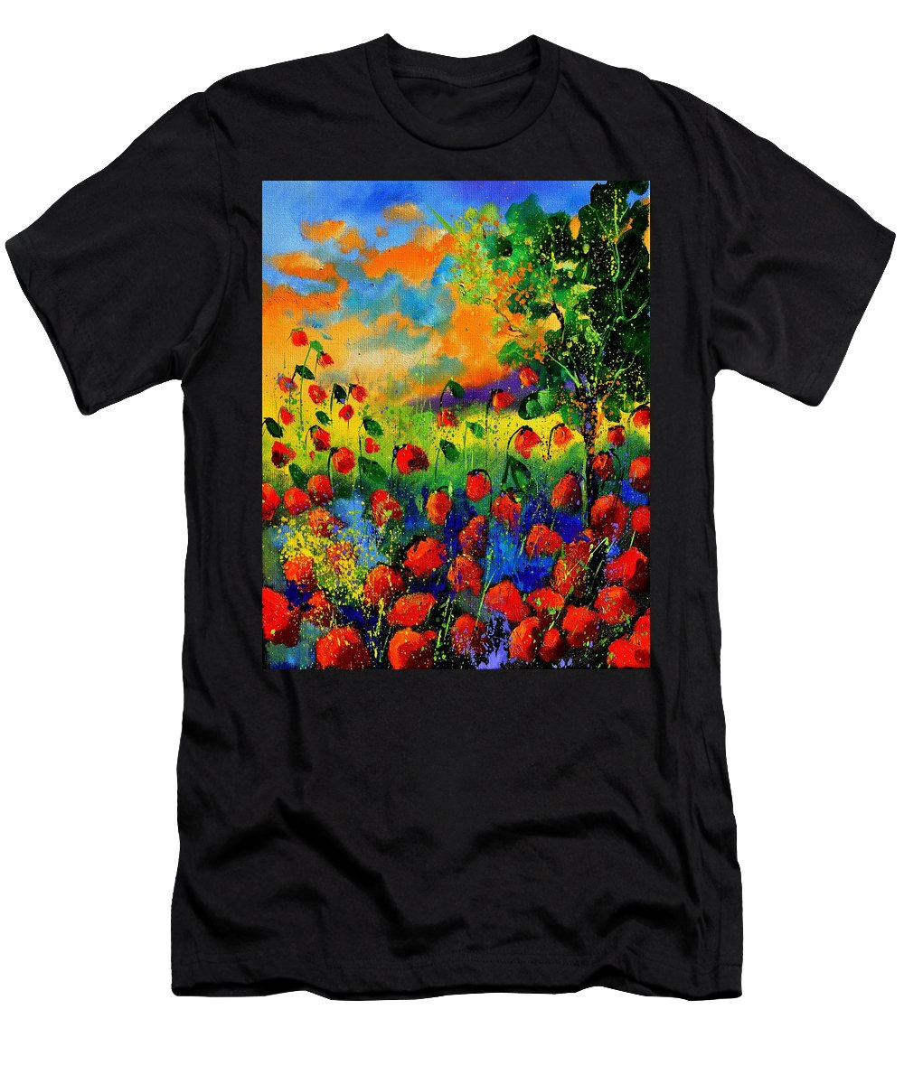 Flowers T-Shirt featuring the painting Red Poppies 45150 by Pol Ledent