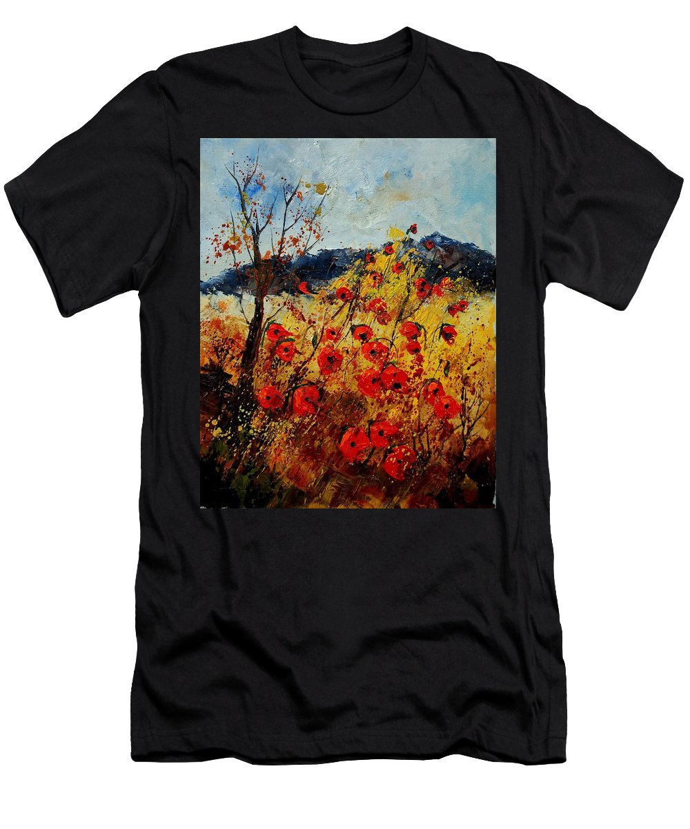 Poppies Men's T-Shirt (Athletic Fit) featuring the painting Red Poppies In Provence by Pol Ledent