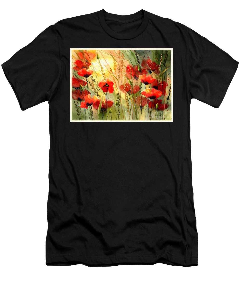 Red Men's T-Shirt (Athletic Fit) featuring the painting Red Poppies Watercolor by Suzann Sines