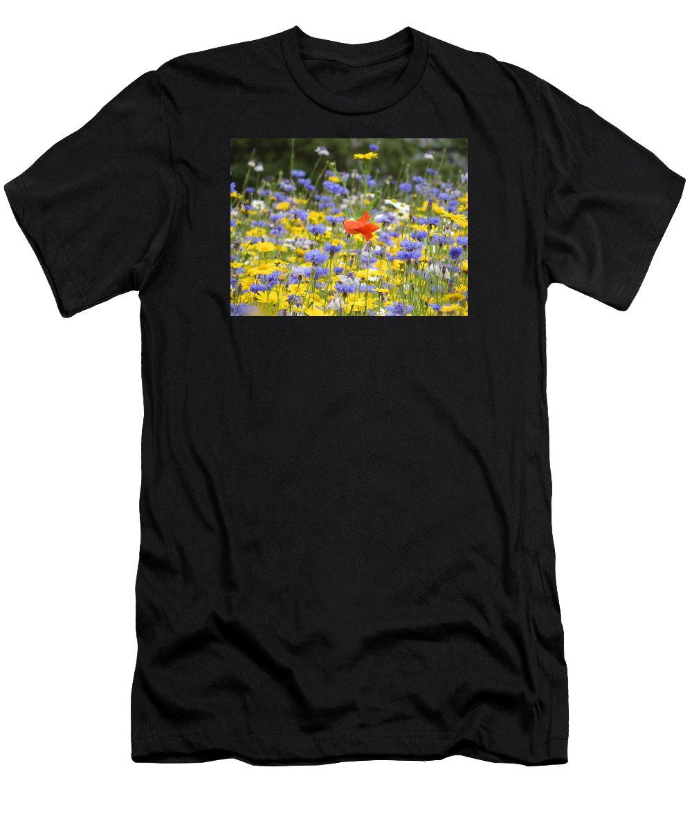Red Men's T-Shirt (Athletic Fit) featuring the photograph One Red Poppy Amongst The Wildflowers by Sara C