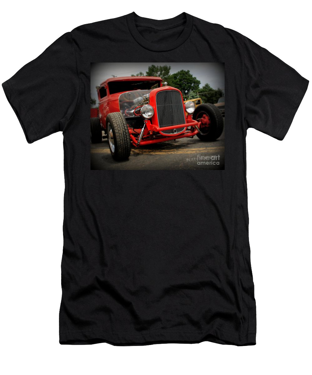 Car Men's T-Shirt (Athletic Fit) featuring the photograph Red Ride 2 by Perry Webster