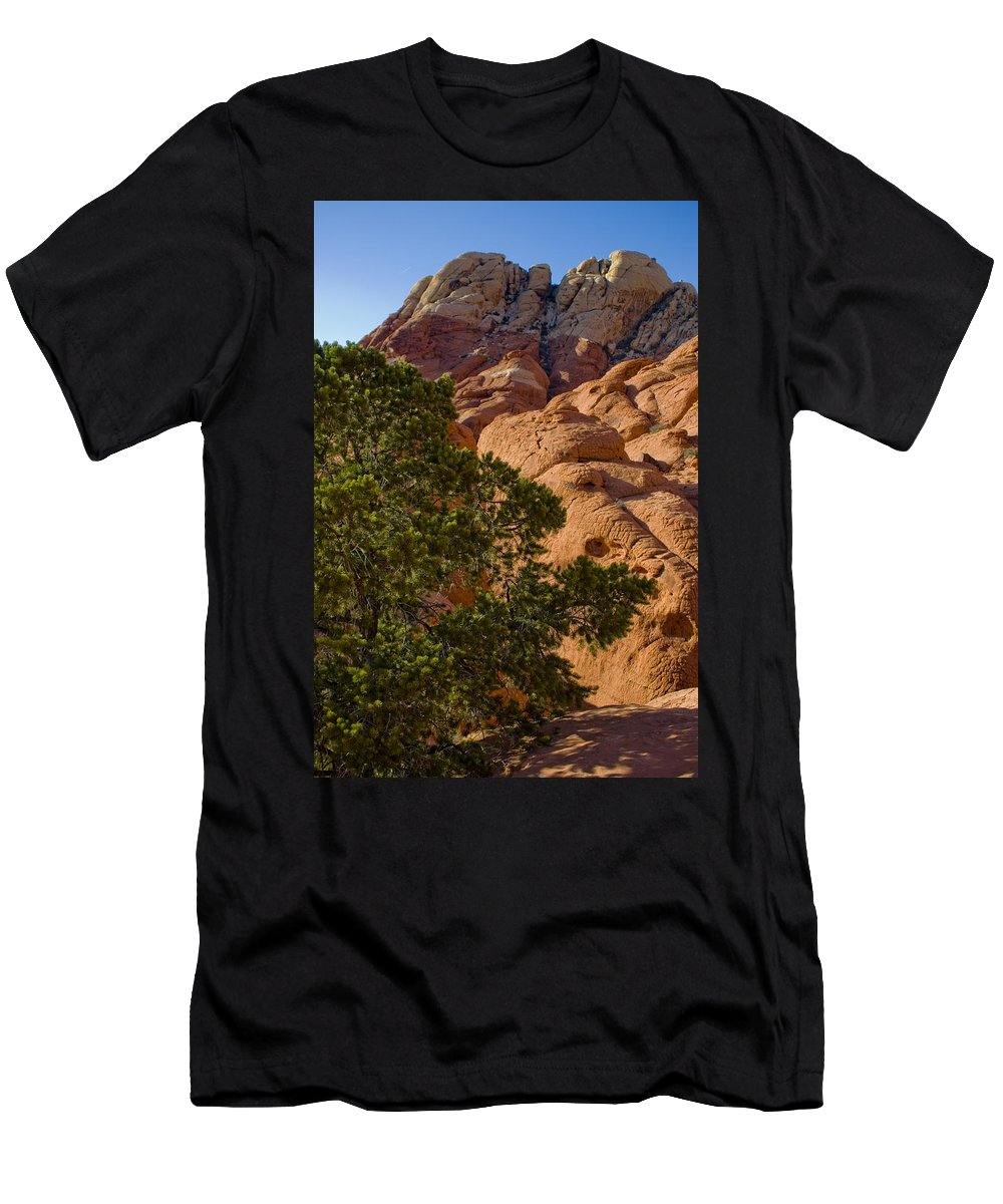 Red Rock Textures Men's T-Shirt (Athletic Fit) featuring the photograph Red Rock Textures by Chris Brannen