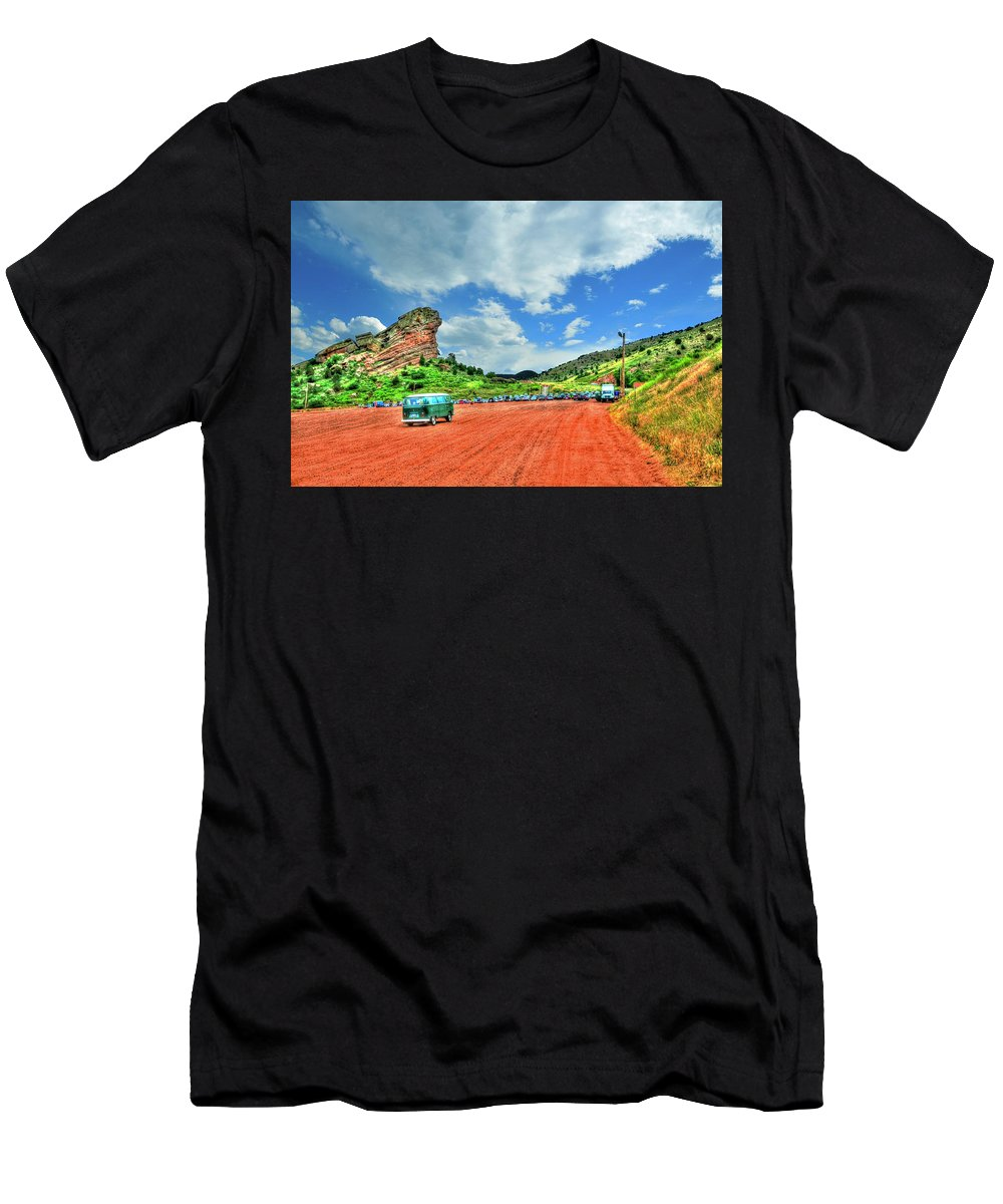 Mountains Men's T-Shirt (Athletic Fit) featuring the photograph Red Rocks Hippie Van by Randy Aveille