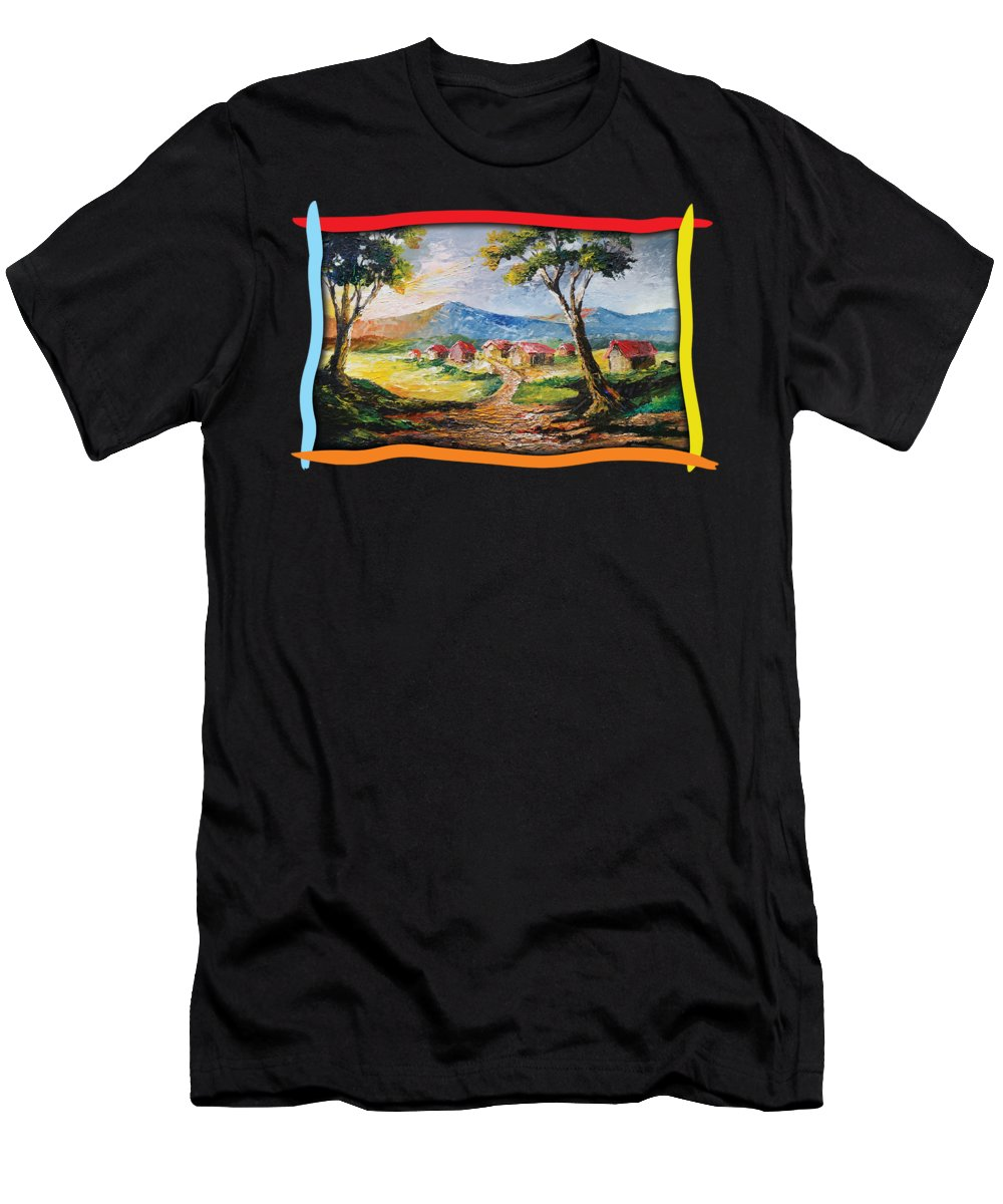 House Men's T-Shirt (Athletic Fit) featuring the painting Red Roofs by Anthony Mwangi