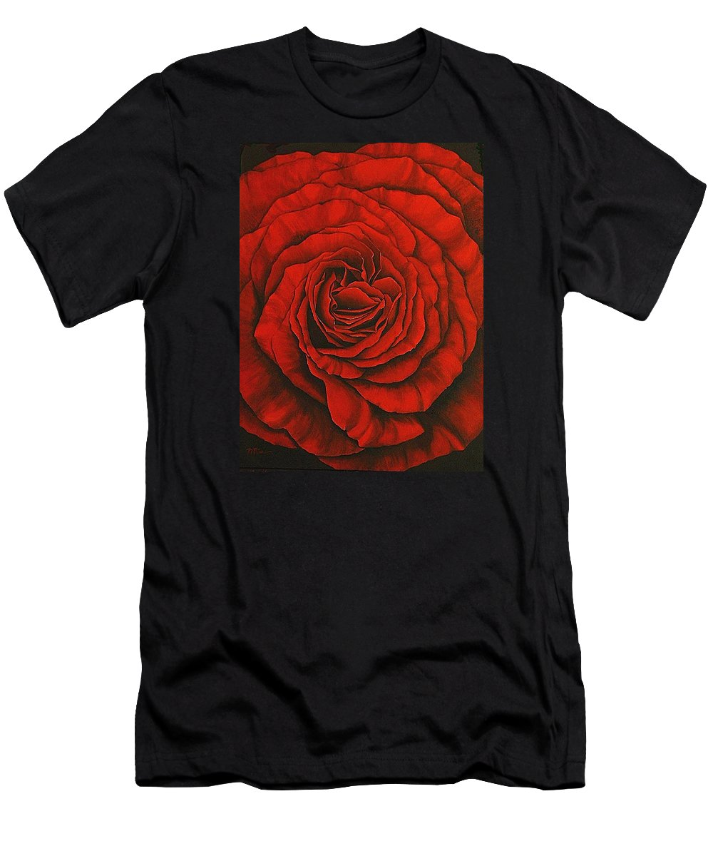 Red T-Shirt featuring the painting Red Rose II by Rowena Finn