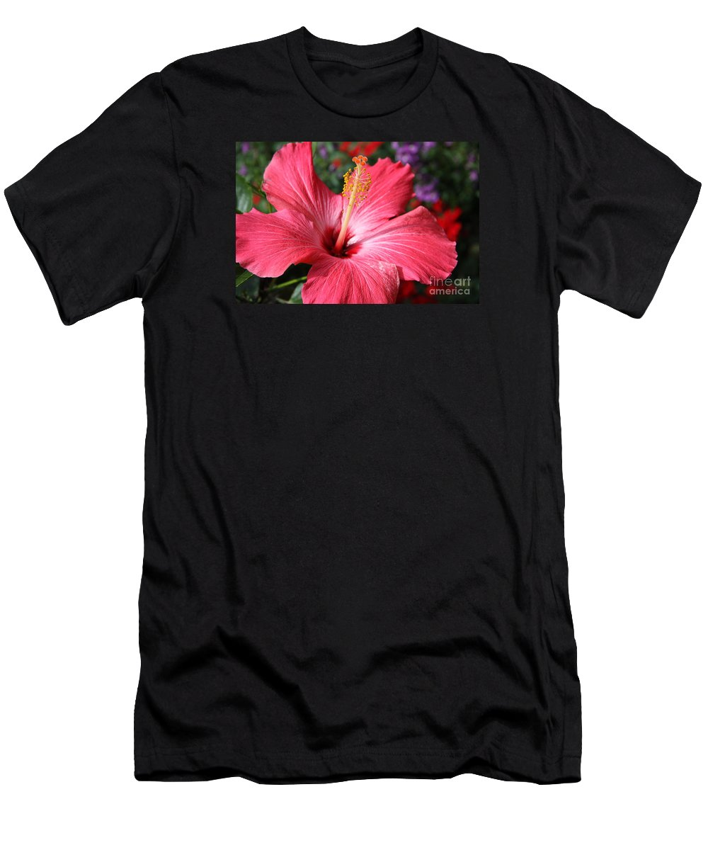 Hibiscus Men's T-Shirt (Athletic Fit) featuring the photograph Red Rose Of Sharon by Christiane Schulze Art And Photography