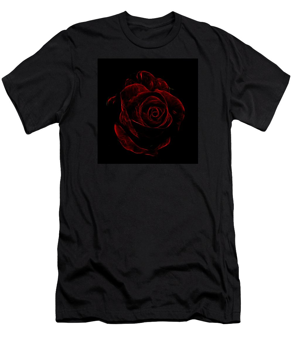 Flower Men's T-Shirt (Athletic Fit) featuring the photograph Red Rose by Peter Moore