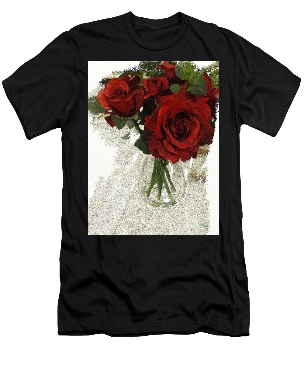 Flower Men's T-Shirt (Athletic Fit) featuring the digital art Red Roses And Glass Still Life 042216 1a by Henry Mills