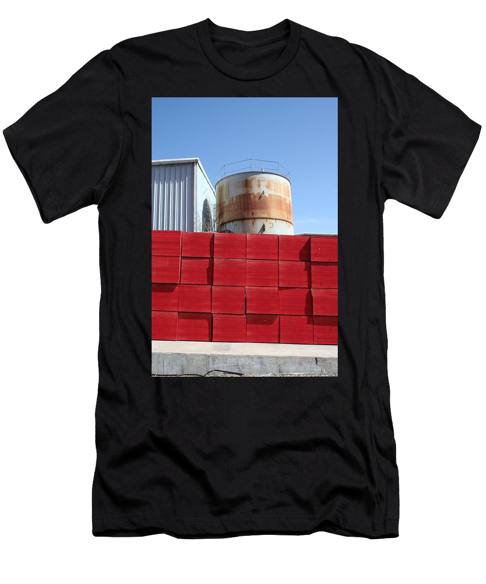Red Men's T-Shirt (Athletic Fit) featuring the photograph Red Rust And Blue by Ric Bascobert