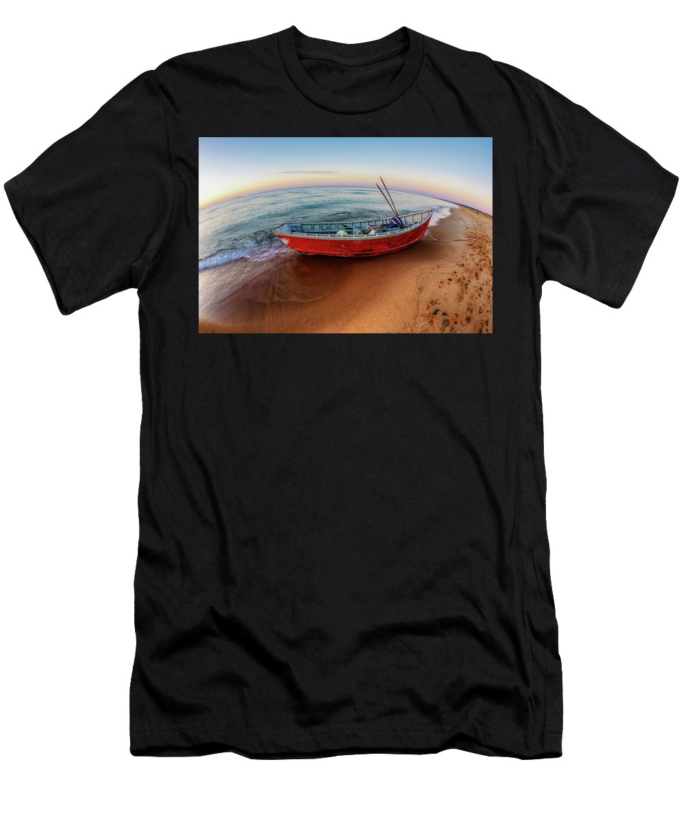 Virginia Beach Men's T-Shirt (Athletic Fit) featuring the photograph Red Skiff by Pete Federico