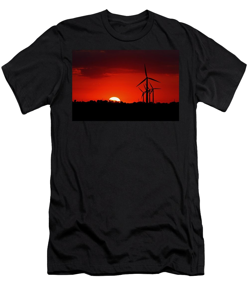 Sun Men's T-Shirt (Athletic Fit) featuring the photograph Red Sky At Night by Peter Bouman