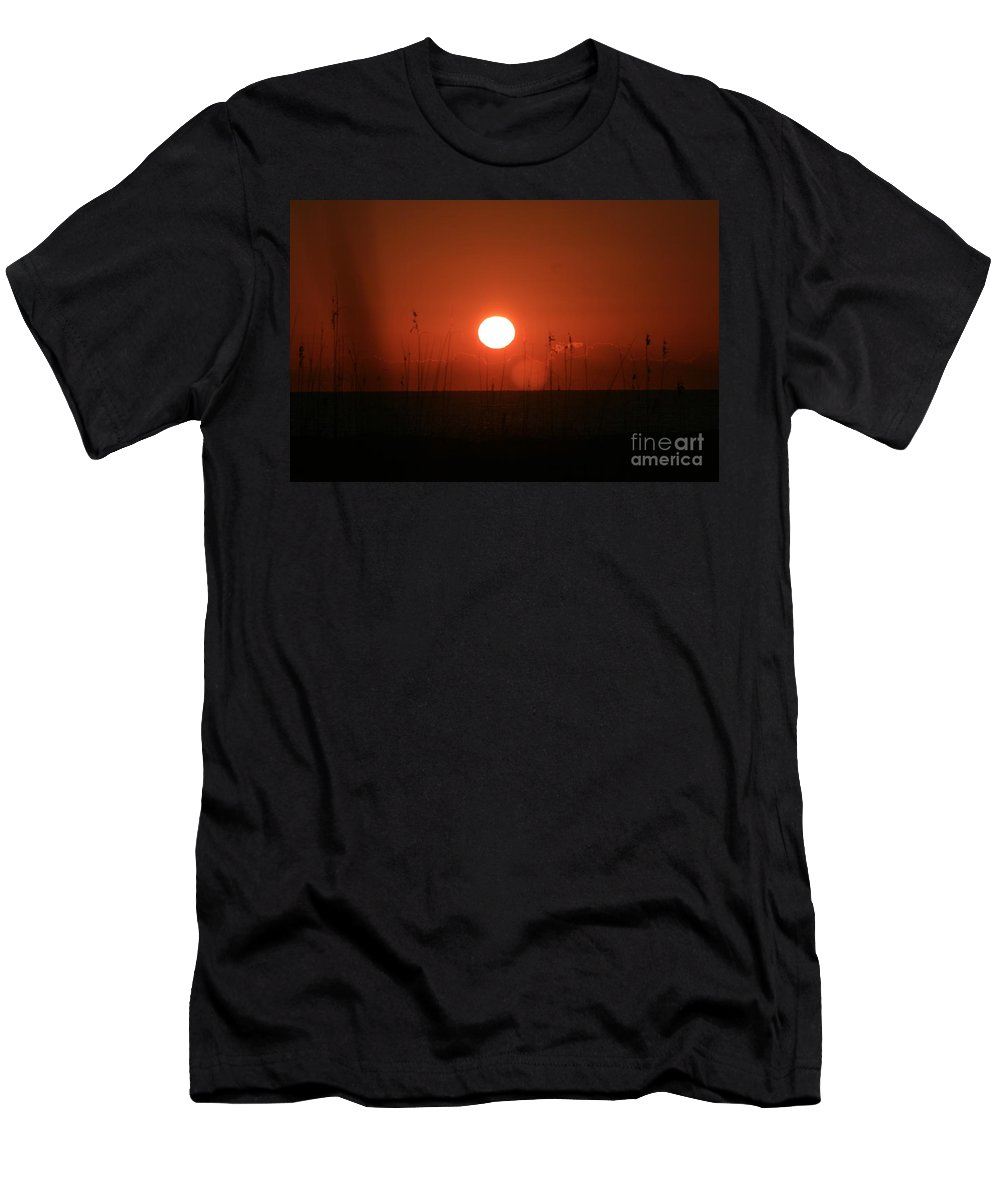 Sunset Men's T-Shirt (Athletic Fit) featuring the photograph Red Sunset And Grasses by Nadine Rippelmeyer