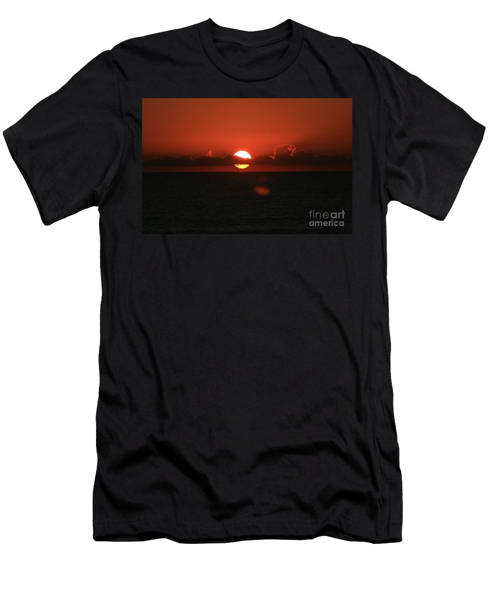 Sunset Men's T-Shirt (Athletic Fit) featuring the photograph Red Sunset Over The Atlantic by Nadine Rippelmeyer
