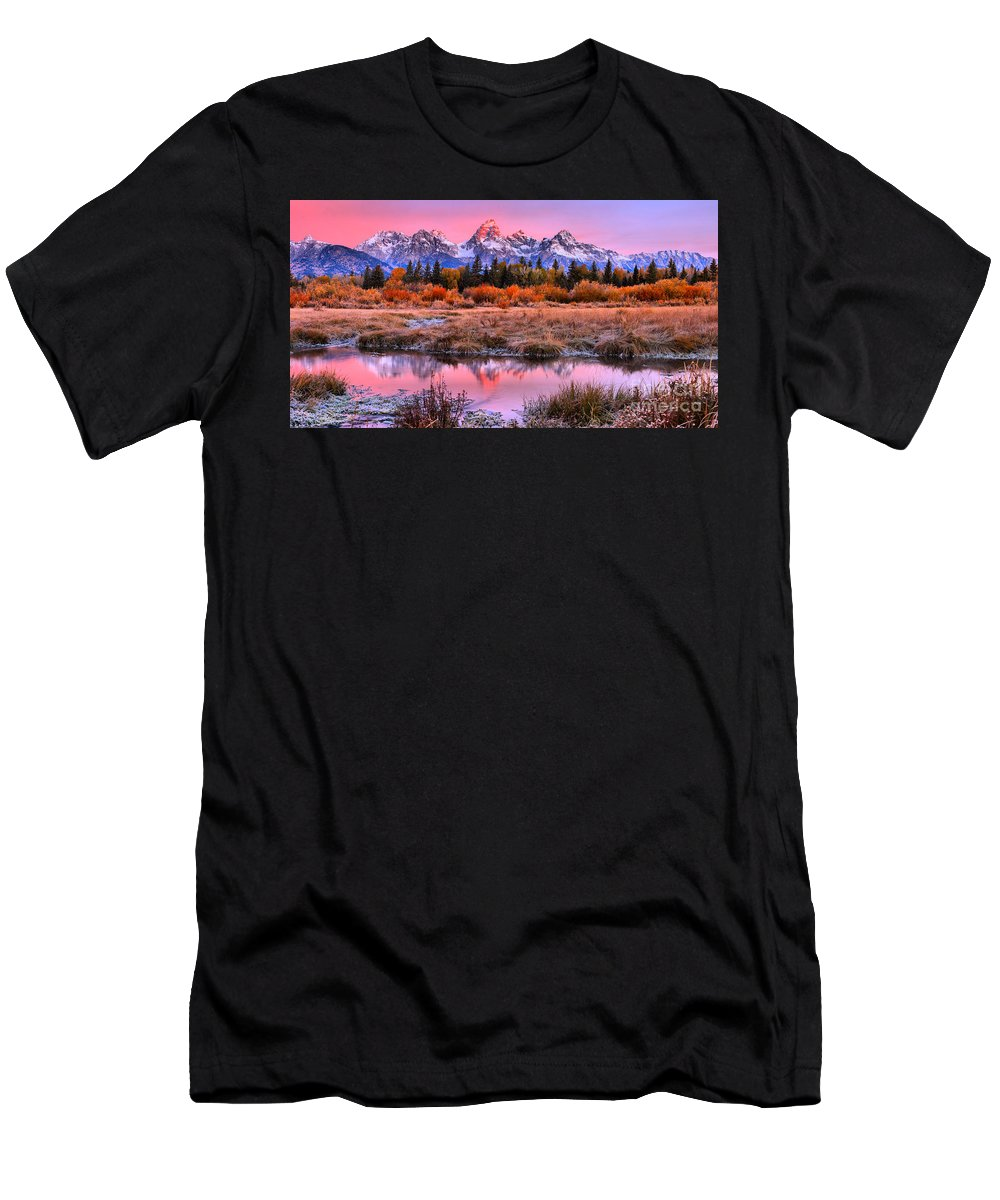 Grand Teton Men's T-Shirt (Athletic Fit) featuring the photograph Red Tip On The Grand by Adam Jewell