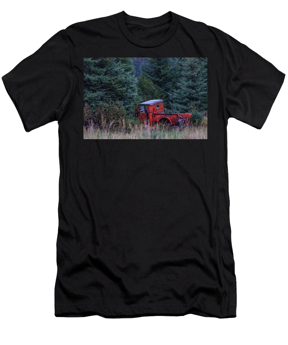 Truck Men's T-Shirt (Athletic Fit) featuring the photograph Red Truck by Kathy Whitehurst