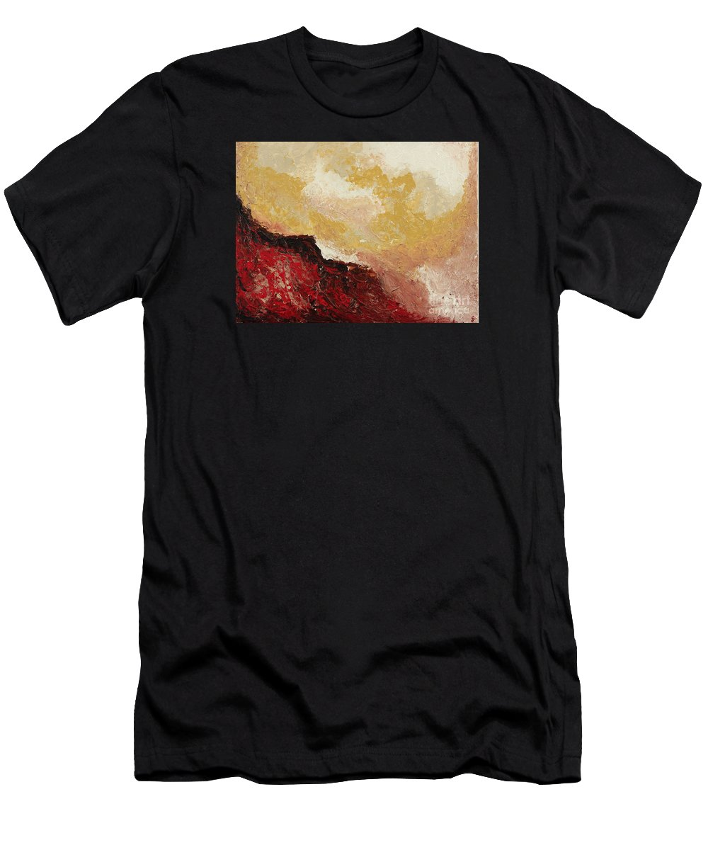 Swirl Men's T-Shirt (Athletic Fit) featuring the painting Red Waves by Preethi Mathialagan