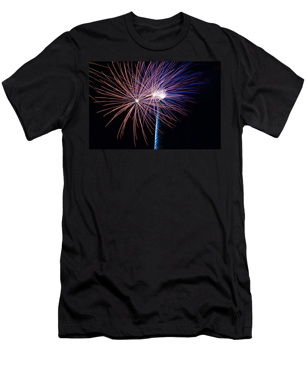 Fireworks Men's T-Shirt (Athletic Fit) featuring the photograph Red White And Boom by Donna Collins