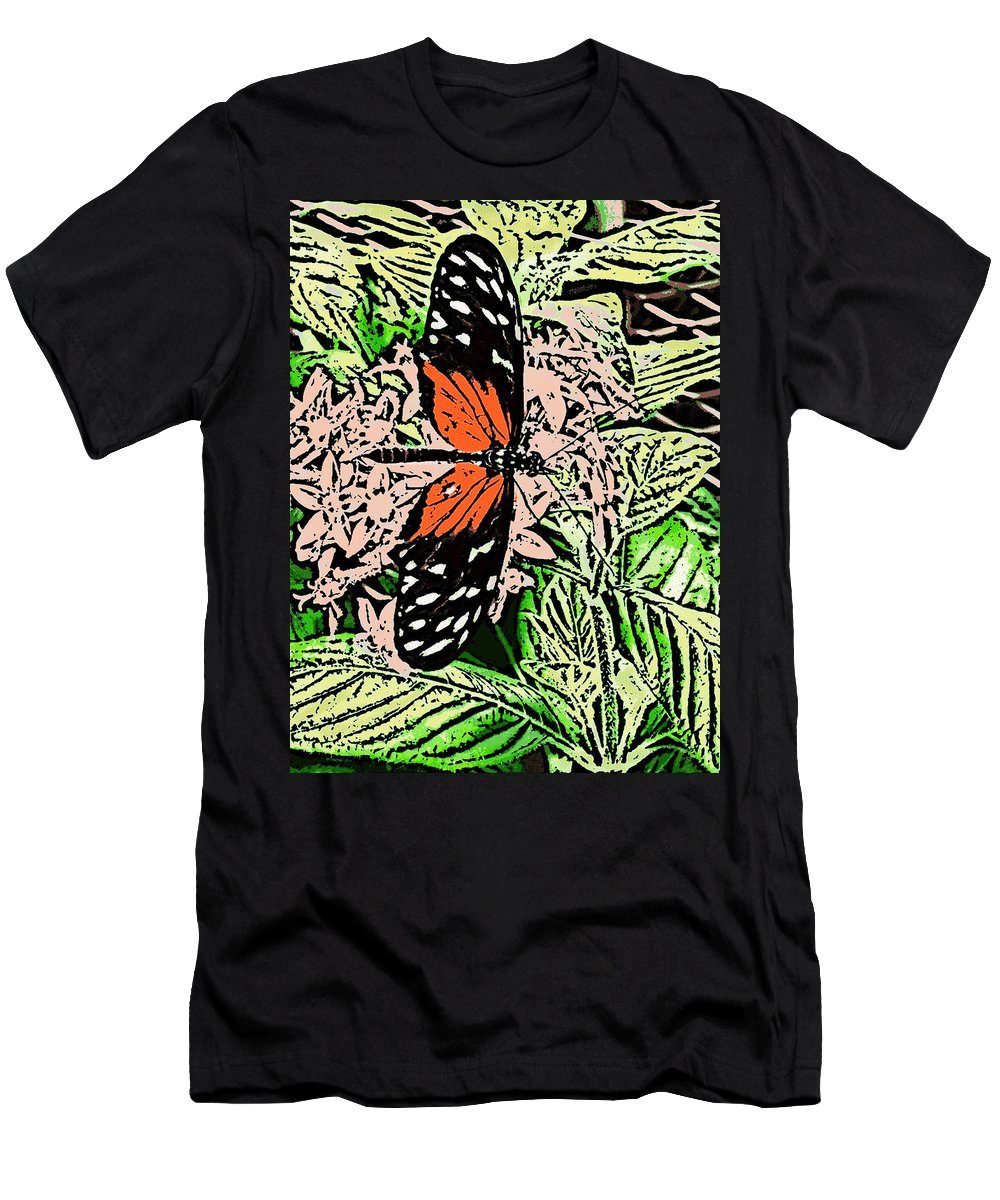 Men's T-Shirt (Athletic Fit) featuring the digital art Red Winged Butterfly by Iris Posner