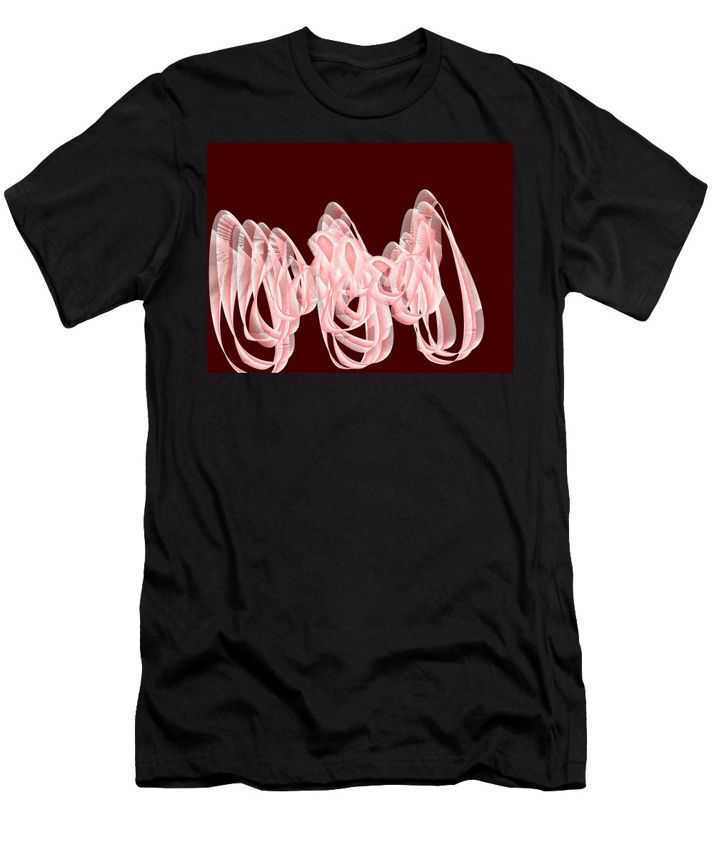 Rithmart Abstract Red Organic Random Computer Digital Shapes Abstract Predominantly Red Men's T-Shirt (Athletic Fit) featuring the digital art Red.483 by Gareth Lewis