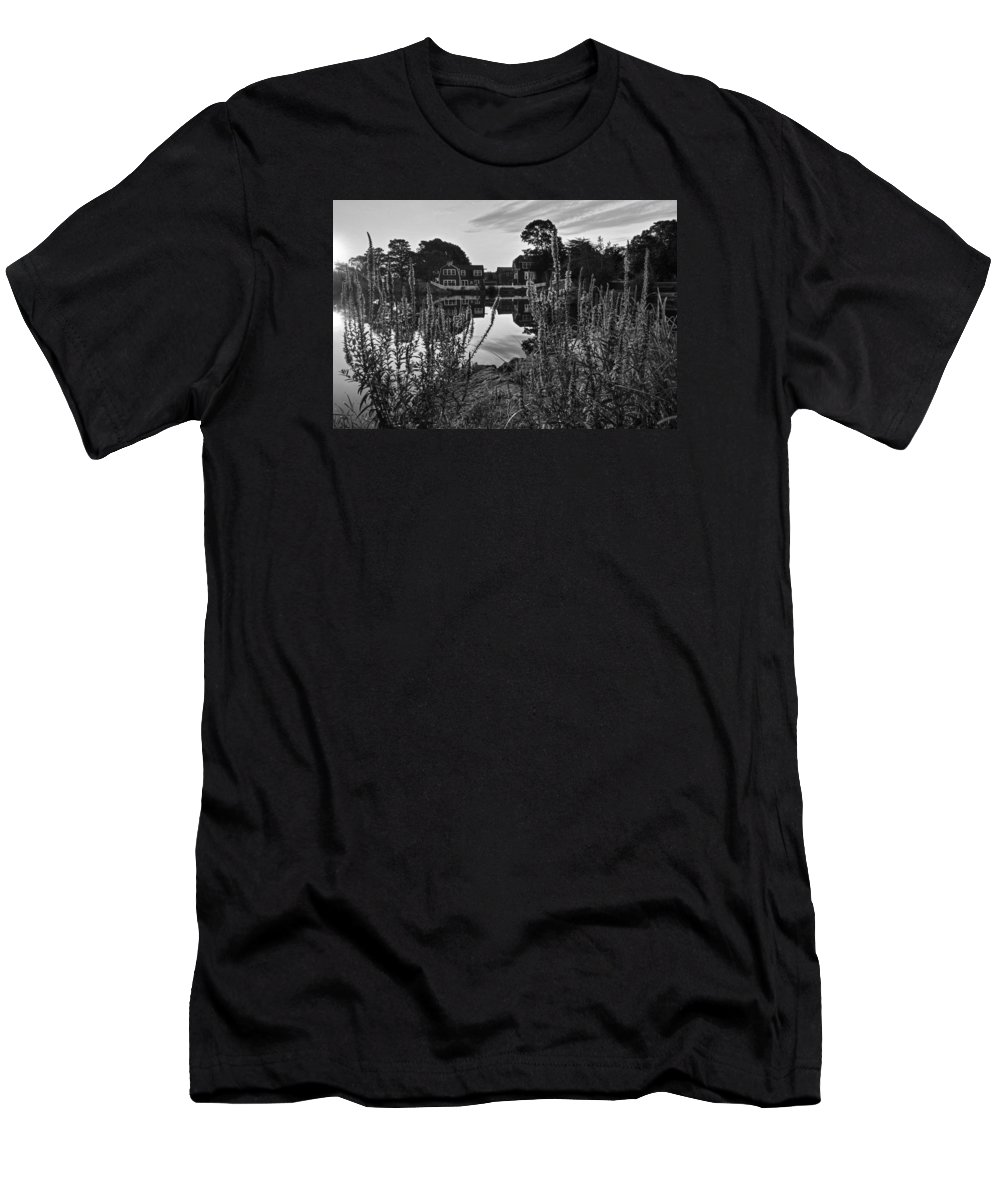 Marblehead Men's T-Shirt (Athletic Fit) featuring the photograph Redd's Pond Lupines Sunrise Black And White by Toby McGuire