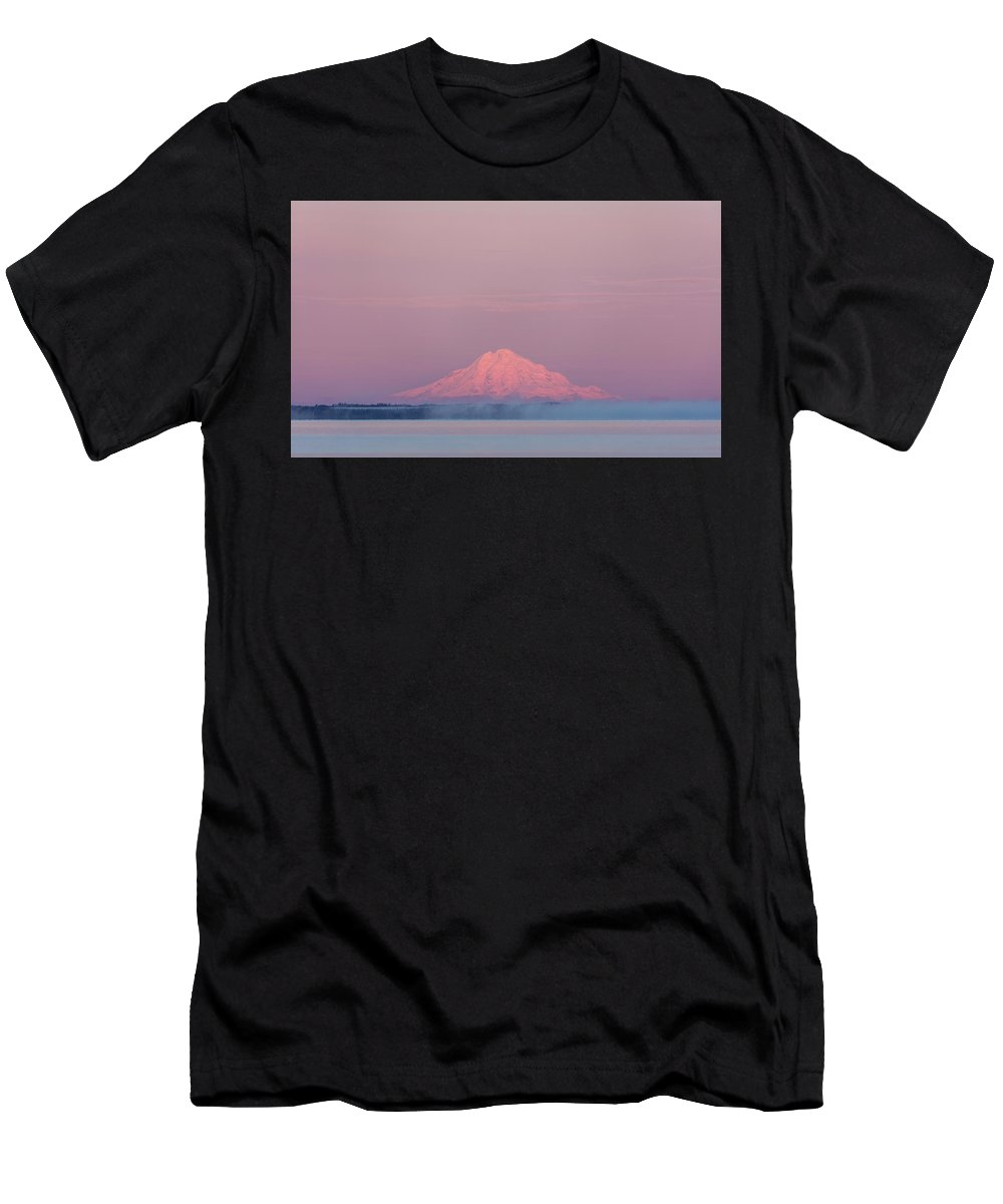 Alaska Men's T-Shirt (Athletic Fit) featuring the photograph Redoubt Volcano by Ray Bulson