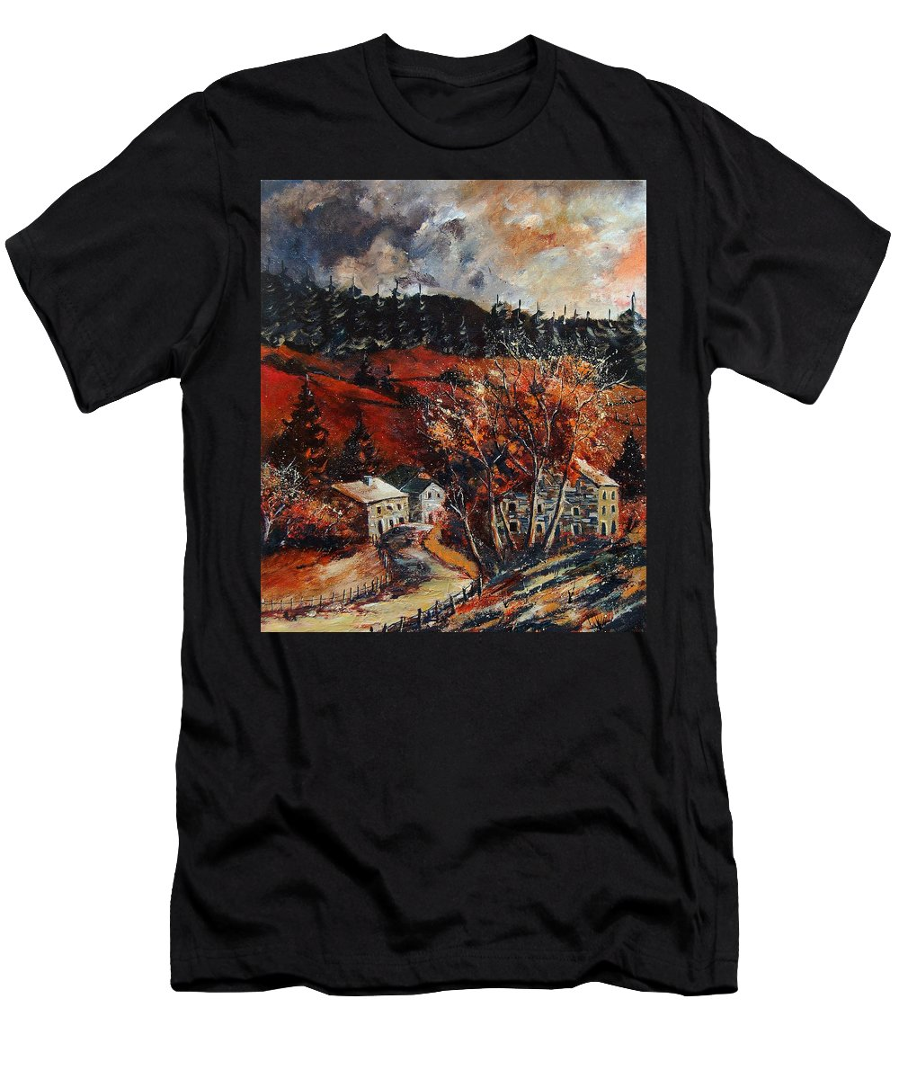 Tree Men's T-Shirt (Athletic Fit) featuring the painting Redu Village Belgium by Pol Ledent