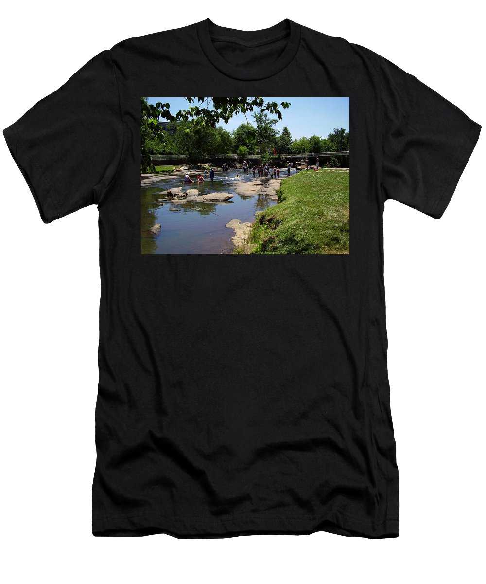 Reedy River Men's T-Shirt (Athletic Fit) featuring the photograph Reedy River by Flavia Westerwelle