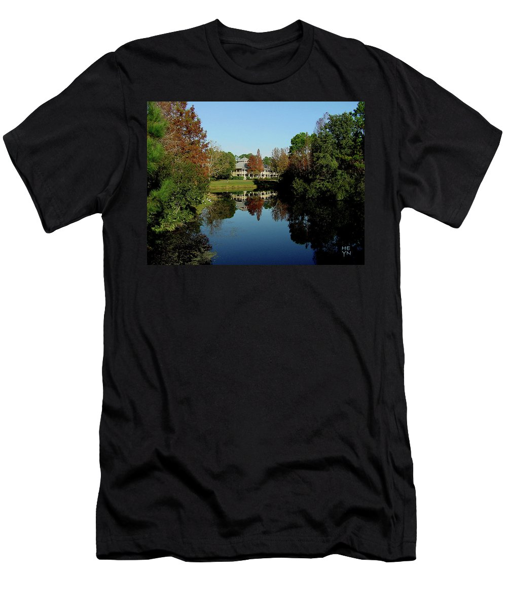 Mansion Men's T-Shirt (Athletic Fit) featuring the photograph Reflected Elegance by Shirley Heyn