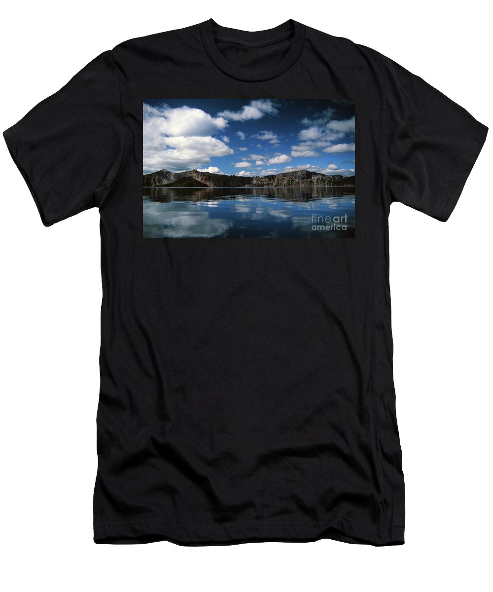 Caldera Men's T-Shirt (Athletic Fit) featuring the photograph Reflecting On Crater Lake by Rick Bures
