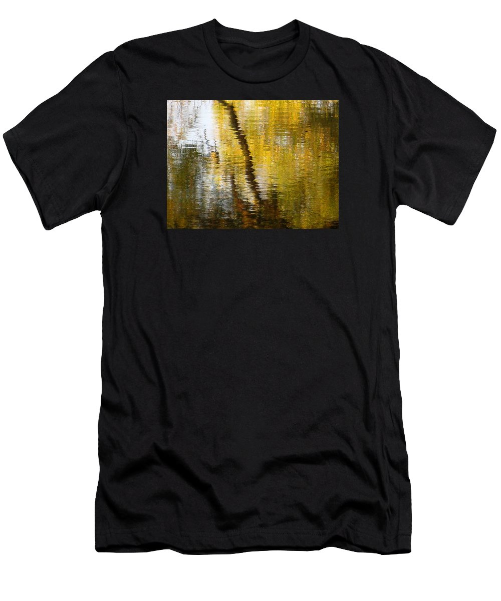 Water Men's T-Shirt (Athletic Fit) featuring the photograph Fall Reflections 3 On Jamaica Pond by Giora Hadar