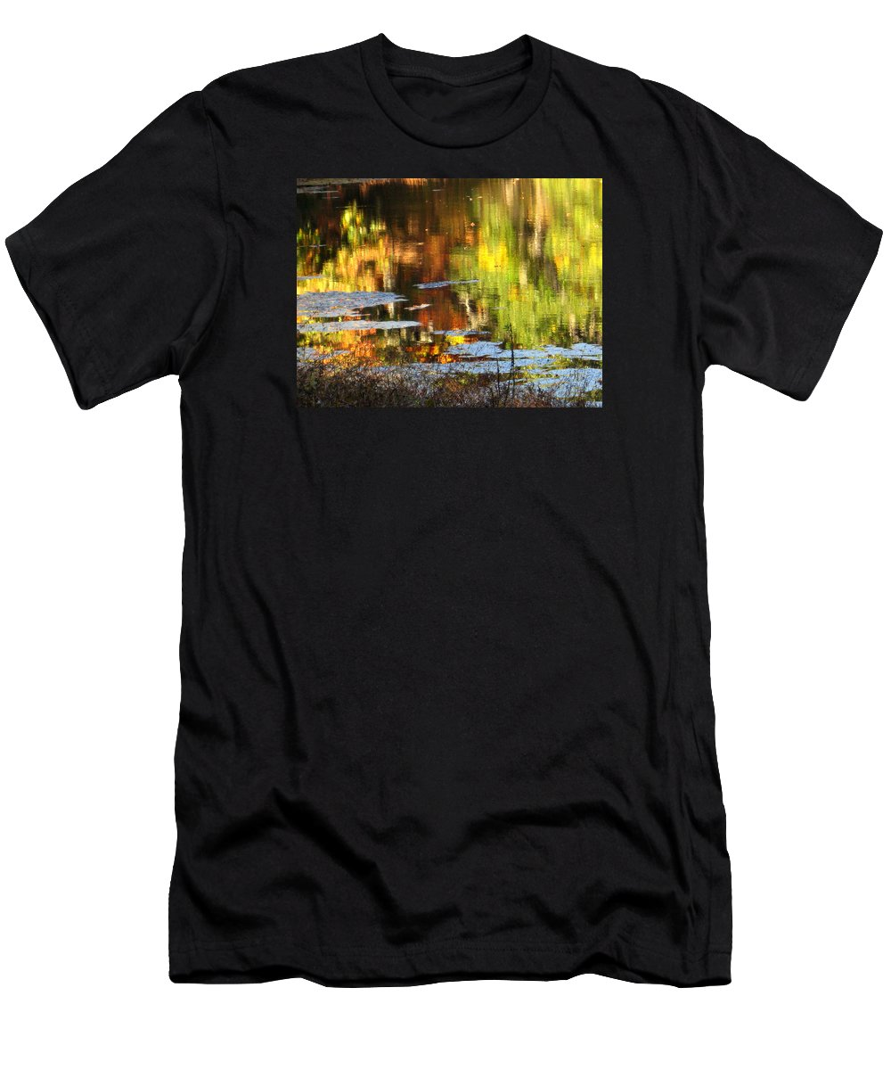 Water Men's T-Shirt (Athletic Fit) featuring the photograph Fall Reflections 5 On Jamaica Pond by Giora Hadar