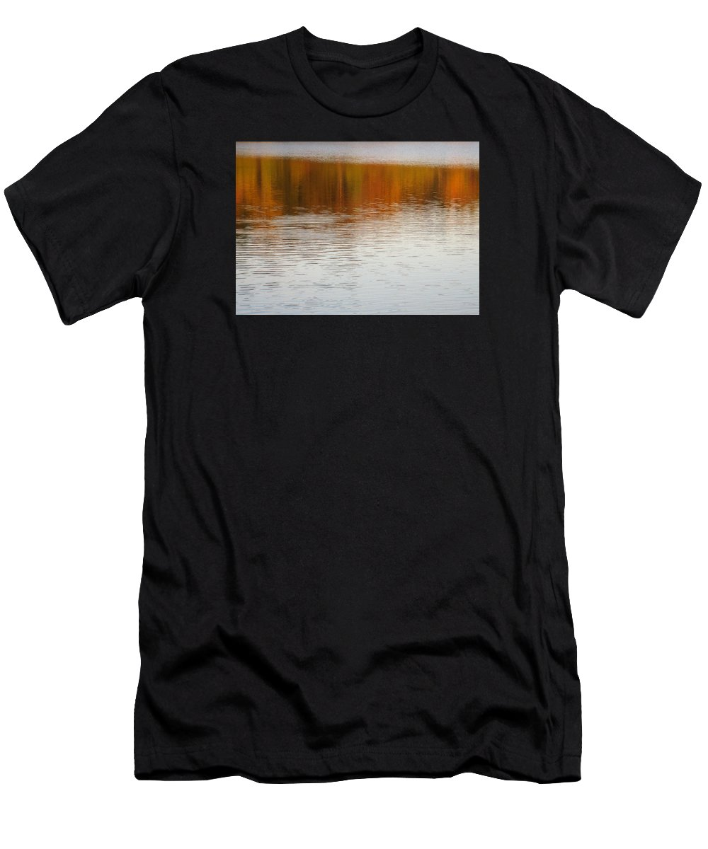 Water Men's T-Shirt (Athletic Fit) featuring the photograph Fall Reflections 6 On Jamaica Pond by Giora Hadar