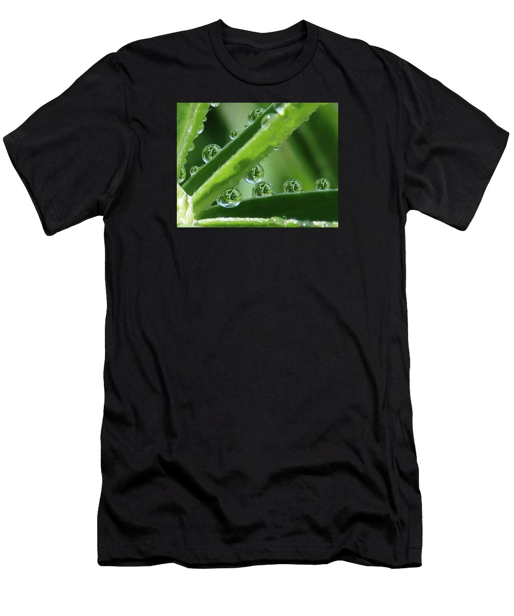Water Drops Men's T-Shirt (Athletic Fit) featuring the photograph Reflection Beads by Ann Rainey