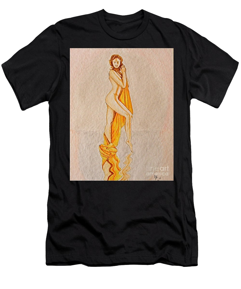 Nude Men's T-Shirt (Athletic Fit) featuring the painting Reflection by Herschel Fall